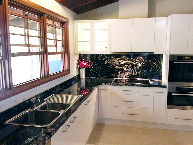 40mm Universe Black Granite benchtops and splashbacks
